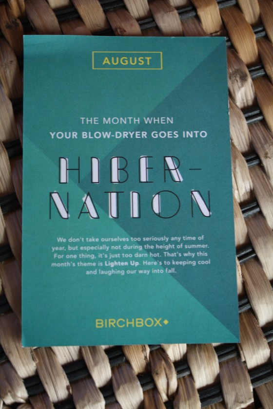 BirchBox August 2014 Theme Card