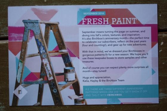 BirchBox Product Theme Card September 2014 Box