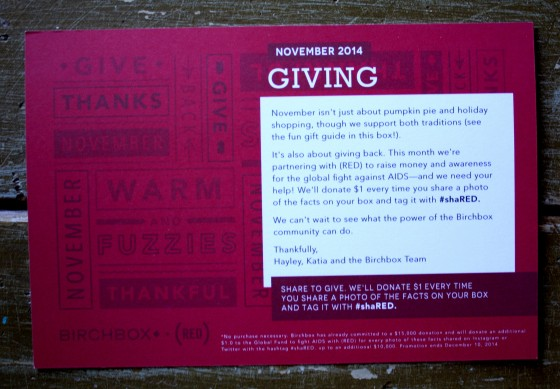 November 2014 BirchBox Theme Card