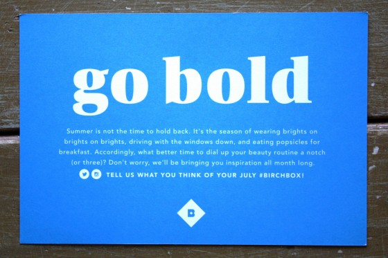Birchbox July 2015 Theme Go Bold