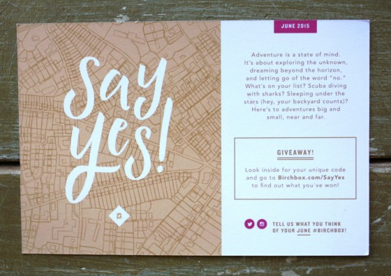 Birchbox June 2015 Box Reveal Say Yes To Adventure Theme   Card