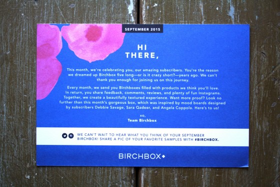 Birchbox September 2015 Box Reveal Theme Card