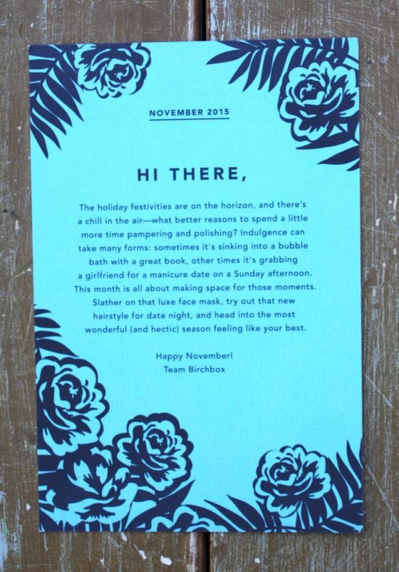 Birchbox November 2015 Box Reveal Theme Card