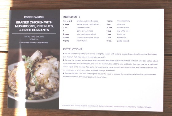 The Wine Subscription Experience of Club W Recipe Pairing Card for Braised Chicken With Mushrooms, Pine Nuts, and Dried Currants