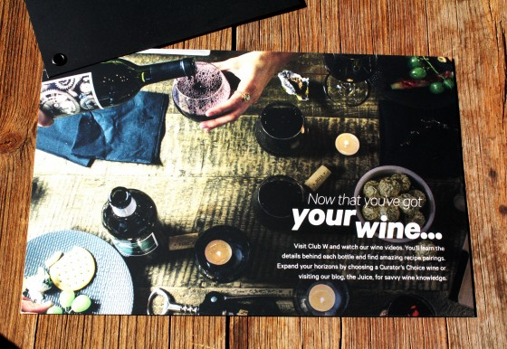 The Wine Subscription Experience of Club W Welcome Card